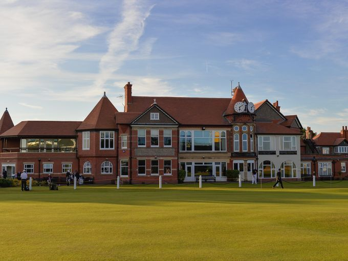 View of the clubhouse during the first round at the 143rd Open Championship at The Royal Liverpool Golf Club.