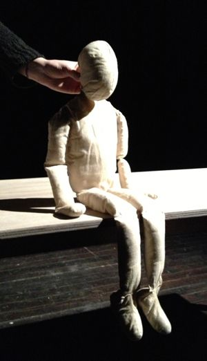 Easy to make a fabric doll/puppet from a pattern. Could use this method for the body and look into a different method for the attachment of the head for neck movement