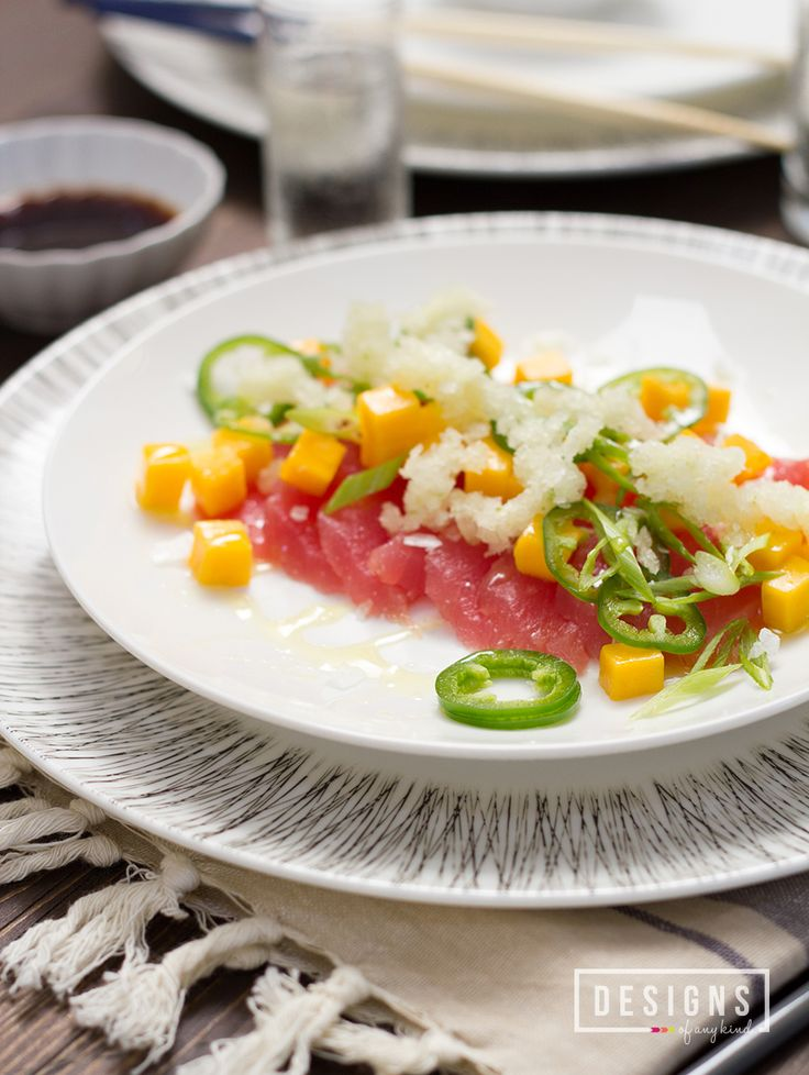 Tuna crudo with mangos citrus chile ice recipe sushi for Buy sushi grade fish online
