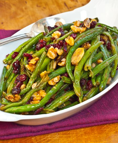 Roasted Green Beans with Cranberries and Walnuts (and lemon)