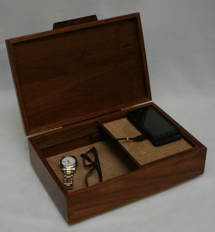 menu0027s valet box with phone charging port and sliding tray manu0027s valet box walnut 370