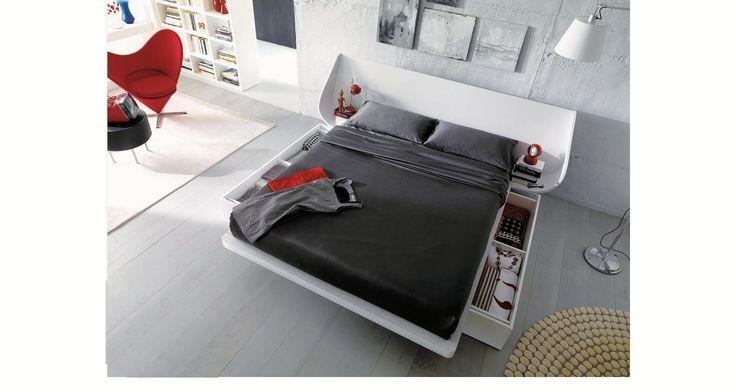 Letto 5|Limbo|Ecopelle & Legno White - Letti Dielle camere da letto