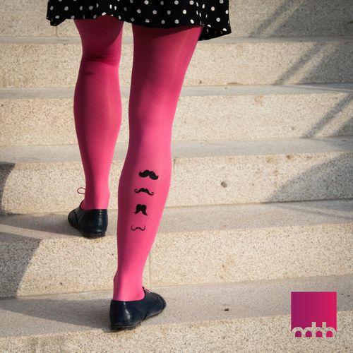 Designové punčocháče s kníry - růžové