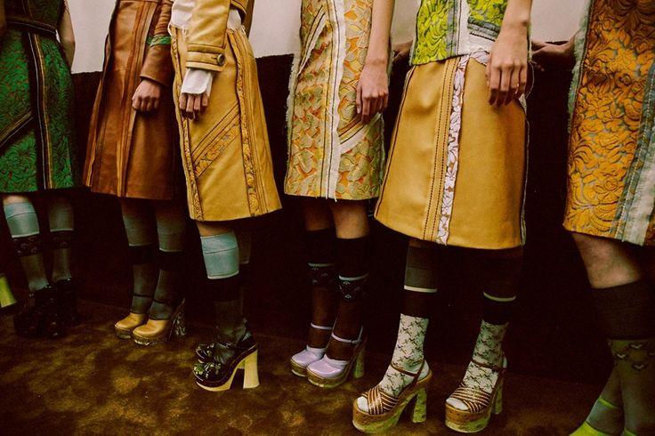 Platform shoes and patterned socks backstage at Prada SS15 MFW. More images here: http://www.dazeddigital.com/fashion/article/21773/1/prada-ss15-live-stream