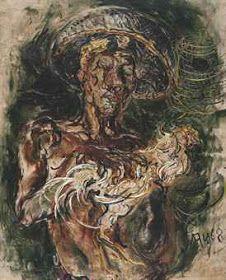 """""""Man with Cockerel"""" by Affandi, Size: 119cm x 96 cm, Medium: Oil on canvas, Year: 1968"""