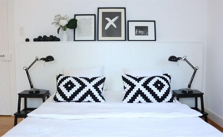 So many bedroom ideas: Photos above the bed   Matching FORSÅ lamps   Black and white   BEKVÄM stool side tables   See more of Patrizia's home at live from IKEA FAMILY   Follow her at lilaliv.ch
