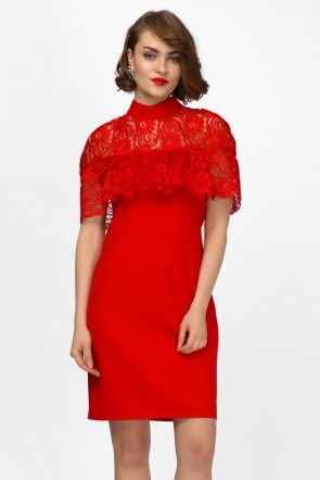 IRON SIDE DANTELLED RED MINI SLEEVE DRESS