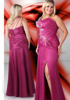 asymétriques v long cou violet, plus la taille des robe de bal grande taille
