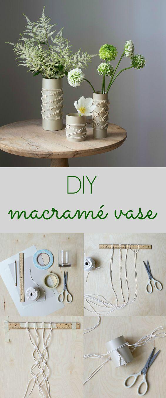 Turn macramé knots into textured embellishments for a modern vase.