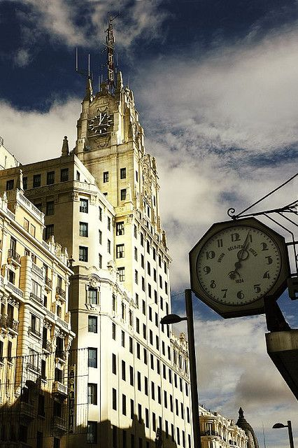 Telefonica Building, Gran Via, Madrid, Spain.
