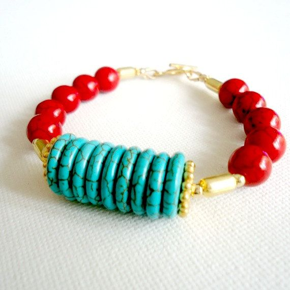 Turquoise Bracelet Gold Jewelry Red Gemstone by jewelrybycarmal, $50.00