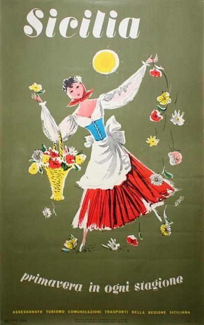 Vintage Italian Posters ~ #Italian #vintage #posters ~ Poster: Sicilia - Primavera in ogni stagione Artist: Artass