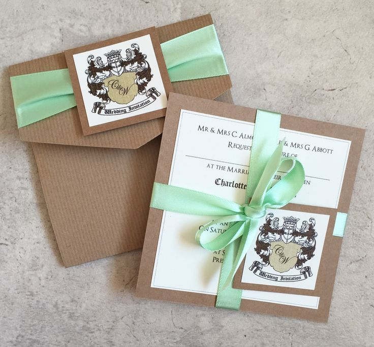 Coat of Arms Wedding Pocketfold & Invitation Bundle in Brown Kraft Card & Mint