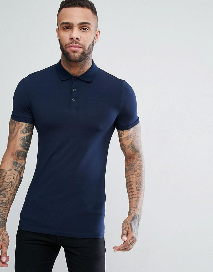 Get this Asos's fit t-shirt now! Click for more details. Worldwide  shipping. ASOS Extreme Muscle Fit Polo In Jersey - Navy: Polo shirt by ASOS,  ...