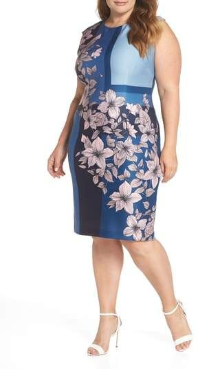 378b02b5f851 Vince Camuto Print Scuba Body-Con Dress. Plus Size ...