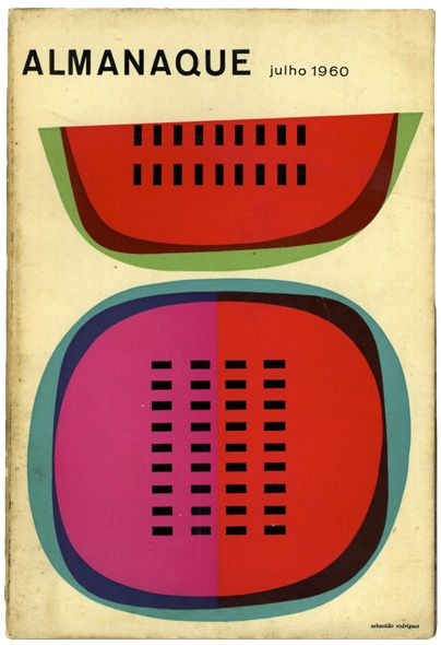 Abstract watermelons by Sebastião Rodrigues on the cover of Portuguese design mag Almanaque - July 1960.