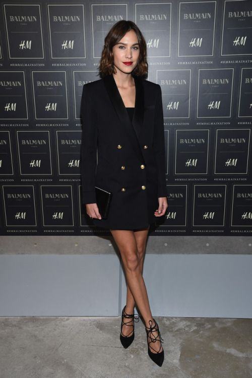 Alexa Chung attends the BALMAIN X H&M Collection Launch at 23 Wall Street on October 20, 2015 in New York City.