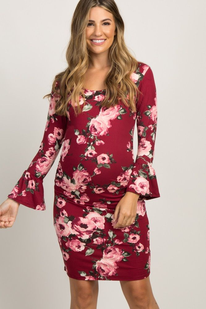 fc9636c305c22 Burgundy Fitted Floral Ruffle Sleeve Maternity Dress | wear it out ...