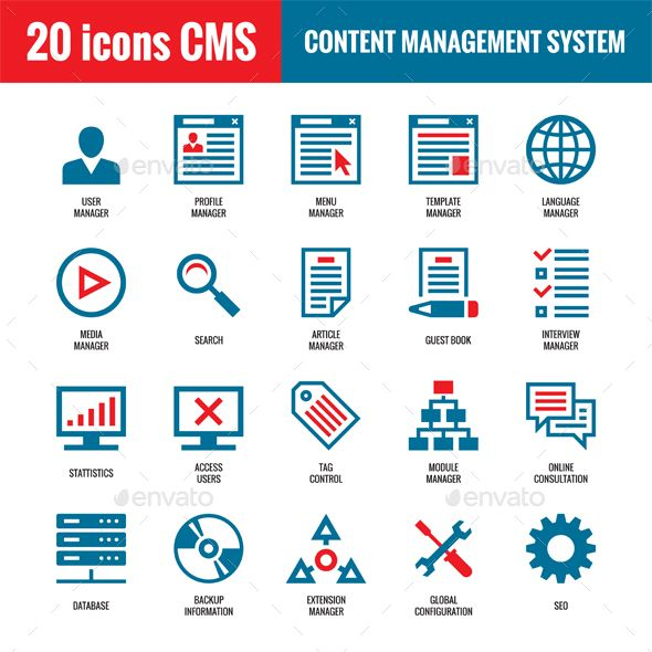 CMS Content Management System 20 vector icons in vector format for creative works. Website internet technology vector icons. Com