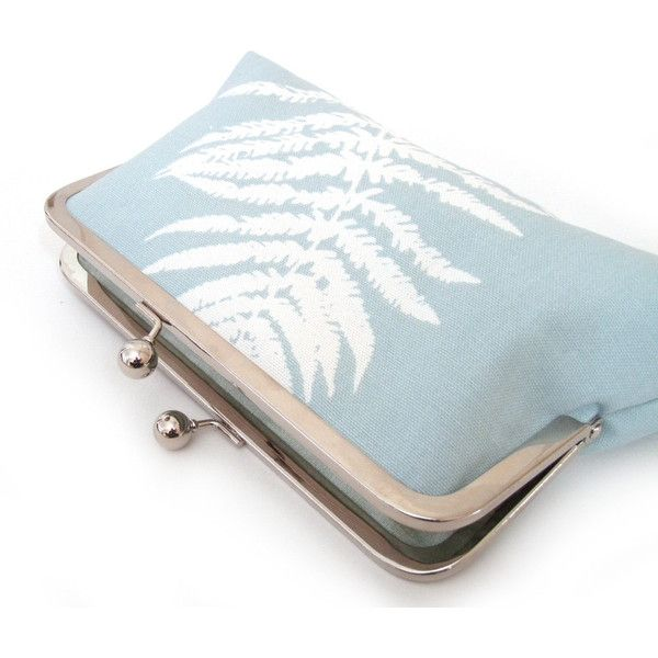 Clutch bag, fern purse, woodland wedding, blue and white, FERN... ($74) ❤ liked on Polyvore featuring bags, handbags, clutches, handbag purse, blue and white purse, purse clutches, man bag and handbags clutches