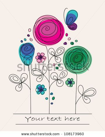 Funny Colorful Illustration With Abstract Flowers And Butterfly - 108173960 : Shutterstock