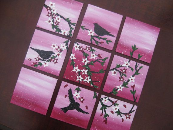 Pink Cherry Blossom And Birds Painting Set Of 9 Canvases