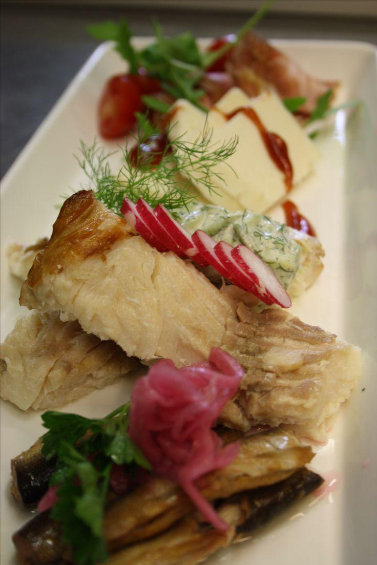 #starter for two #whitefish #goatcheese #wendice #airdried finnish pork