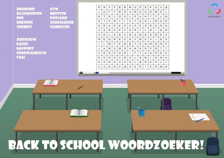 Ambrasoft - Knutselplaat - puzzel - woordzoeker voor kinderen met thema back to school