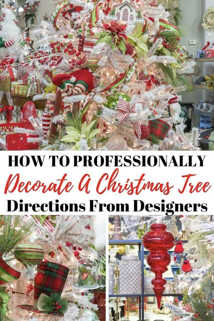 How To Professionally Decorate A Christmas Tree Designer S Step By Step Directions Worthing Court In 2020 Skinny Christmas Tree Christmas Tree Design Christmas Tree Garland