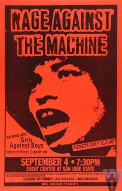 Rage Against the Machine Poster from San Jose State Event Center