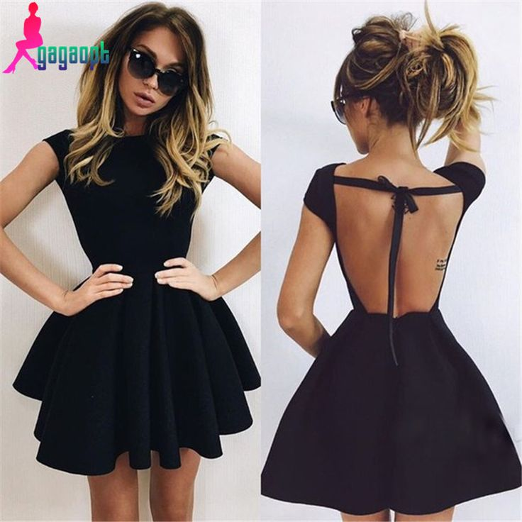 Gagaopt 2016 Hot Sale Party Night Womens Dress Sexy Bow Open Back Space  Cotton Vintage Dress