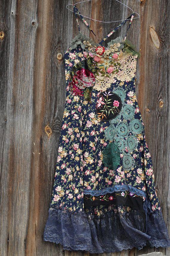Lucinda dress whimsy bohemian dress embroidered by FleursBoheme