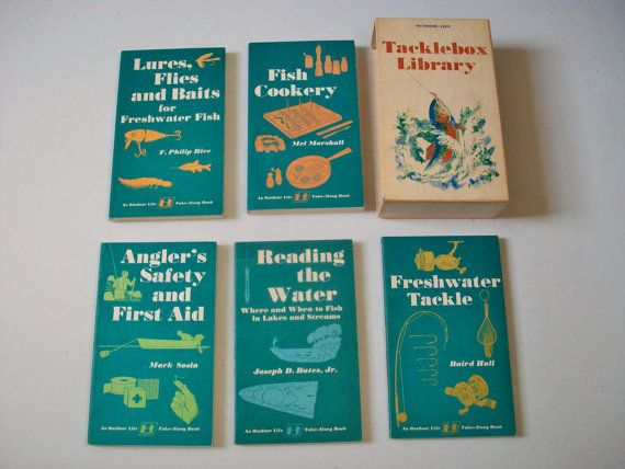 Outdoor Life Tacklebox Library Fishing Book Set, Vintage Fishing Books Box Set, Fish Cooking Freshwater Tackle Lures & Bait
