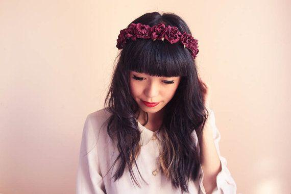 romantic pastel rose headband // burgundy  dainty by kisforkani, $35.00