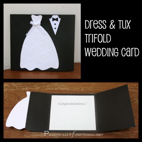 DIY Wedding Cards - Dress & Tux Trifold Card..has a template to download {cute}