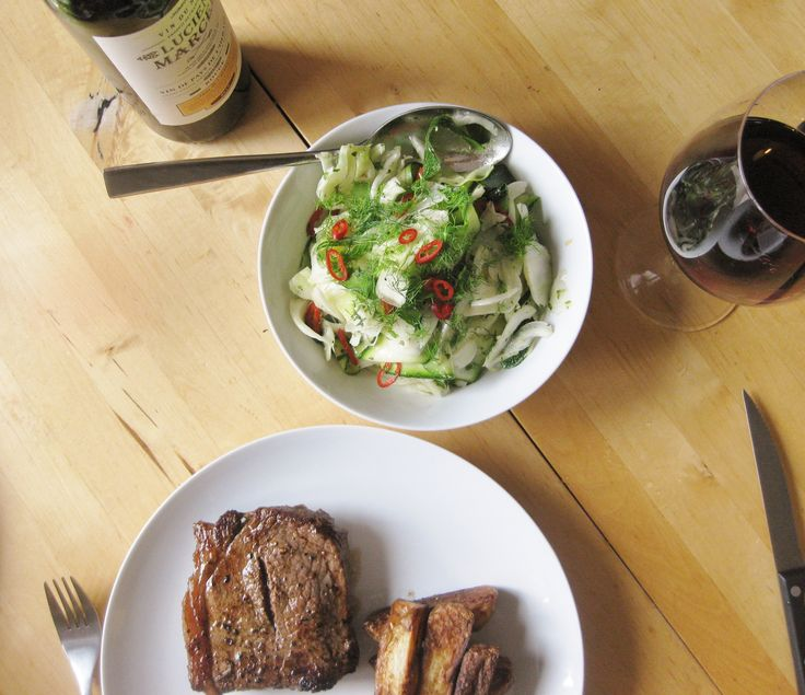 Courgette and fennel salad served with steak, chips and red wine http://theproofofthepudding.net/2014/07/20/fennel-and-courgette-salad/