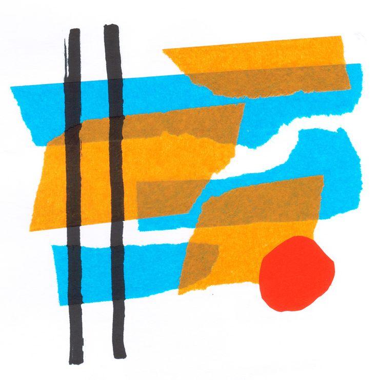 """Rodrigo Gárate Chateau. Parte de la serie """"PROBLEMAS DE LÍNEA RECTA"""" (2015). Collages de papeles de colores. La línea recta se curva e interviene en primer plano sobre las formas de sus fondos."""