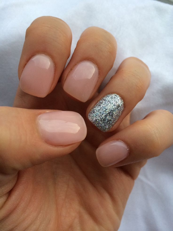 "OPI gel nail polish-"" bubble bath"" and a silver, glitter accent. Have this in mini size."