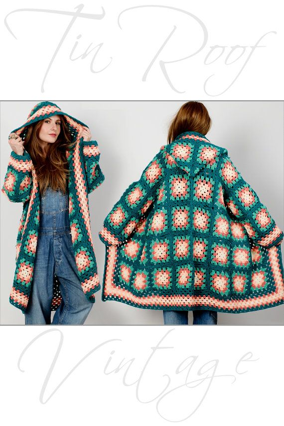 vintage 70s HOODED Granny Square Cardigan Sweater Coat jacket hand knit folk hood