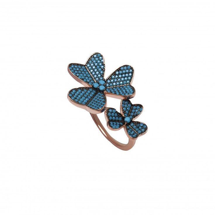 Μοντέρνο δαχτυλίδι με λουλούδια από ασήμι 925 στολισμένο από nano τυρκουάζ πέτρες με ροζ χρυσό επιπλατίνωμα.Ιδανικό για εμφανίσεις με στυλ που θα εντυπωσιάσετε.