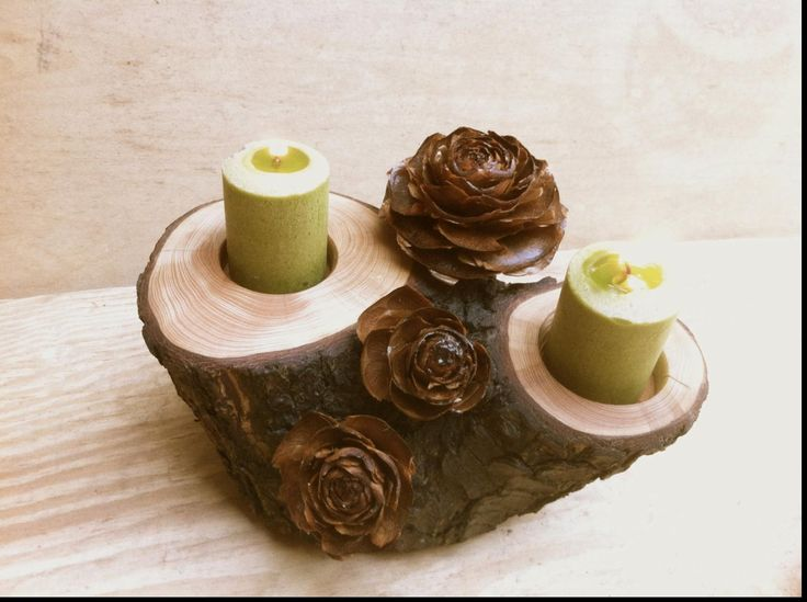 Superb rustic wedding centerpieces with wood logs with wood ...