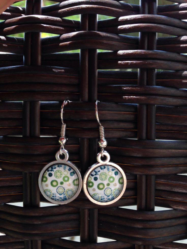 Blue and Green Dainty Flower Earrings - 12mm - Dangle, Stud or Lever Back - pinned by pin4etsy.com