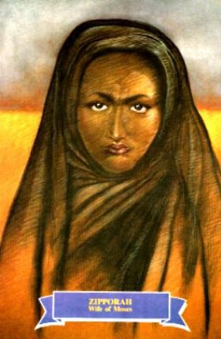 Zipporah or Tzipora is mentioned in the Book of Exodus as the Cushite wife of Moses, and the daughter of Reuel/Jethro, the priest or prince of Midian and the spiritual founder and ancestor of the Druze. Exodus 2:21 Moses agreed to stay with the man, who gave his daughter Zipporah to Moses in marriage.