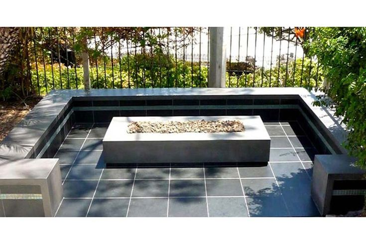 25 best ideas about rectangular fire pit on pinterest for Rectangular stone fire pit