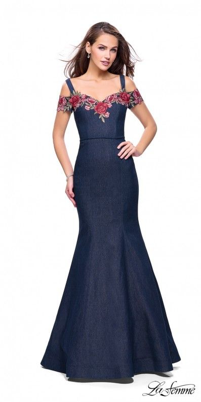 094be52dd6 Be a trendsetter and stun the crowd at your next formal event in the Denim  Rosette Embroidered Fitted Evening Dress by La Femme.  edressme