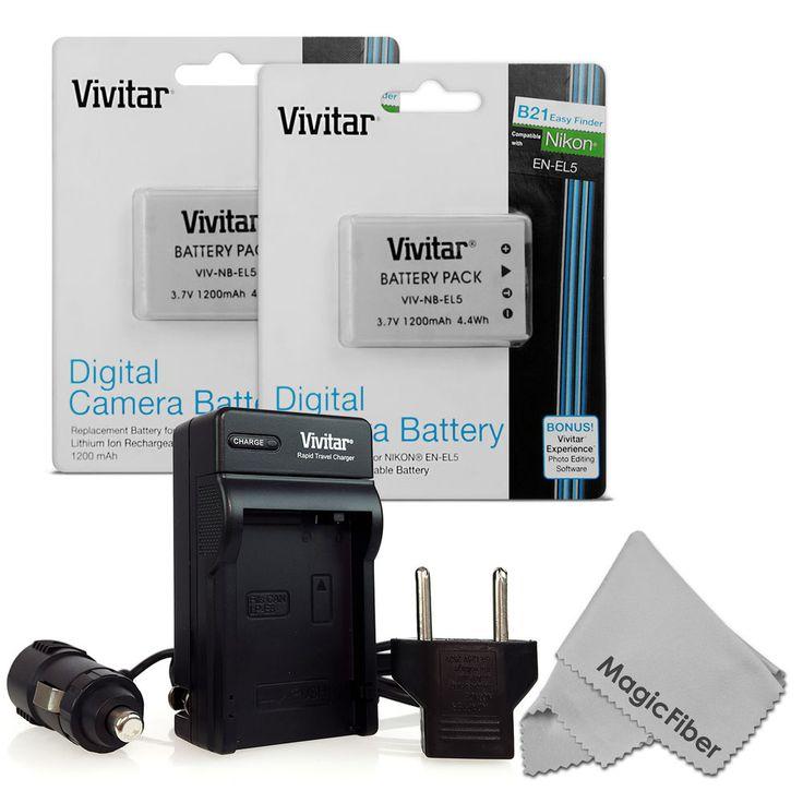 Energize Your Camera! 2 Pcs EN-EL5 Battery + Charger for Nikon Coolpix P80 P90 P100 P500 P510 P520 #Vivitar #MagicFiber #Coolpix