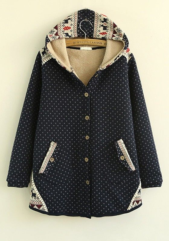 Navy Blue Patchwork Thick Cotton Blend Padded Coat