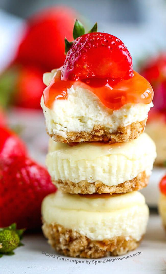 Mini Cheesecakes! Rich & luscious baked cheesecake in 15 minutes! Top with your favorite fruit filling, chocolate or caramel!