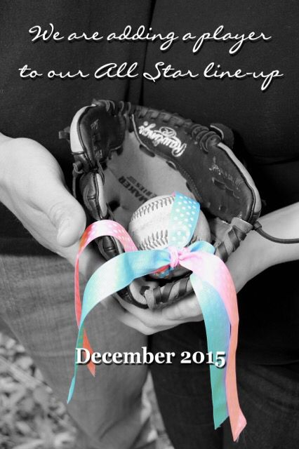 TJs pick for Baby Johnson's announcement he loves baseball and our photographer came up with the punch line!