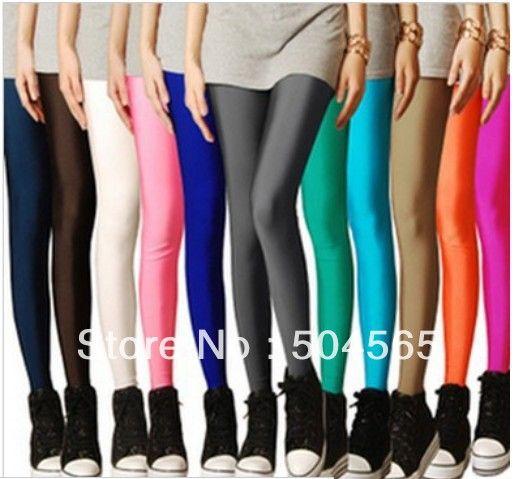 Конфеты цветов леггинсы мода флуоресценции леггинсы шинни высокого супер-эластичный карандашом брюки женские Strench брюки 16 цветов 9 - 328